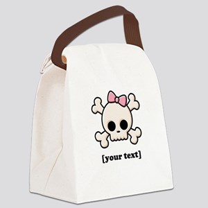 [Your text] Cute Skull Girl Canvas Lunch Bag